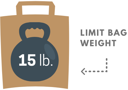 Limit bag weight to 15 lb